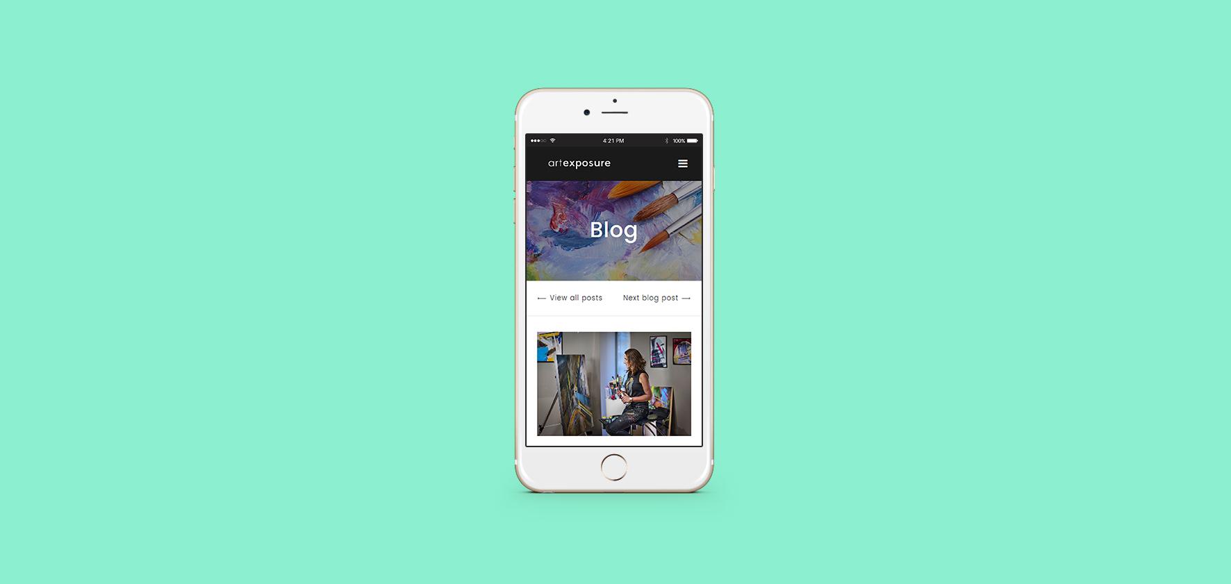 Art Exposure Website Design on iPhone