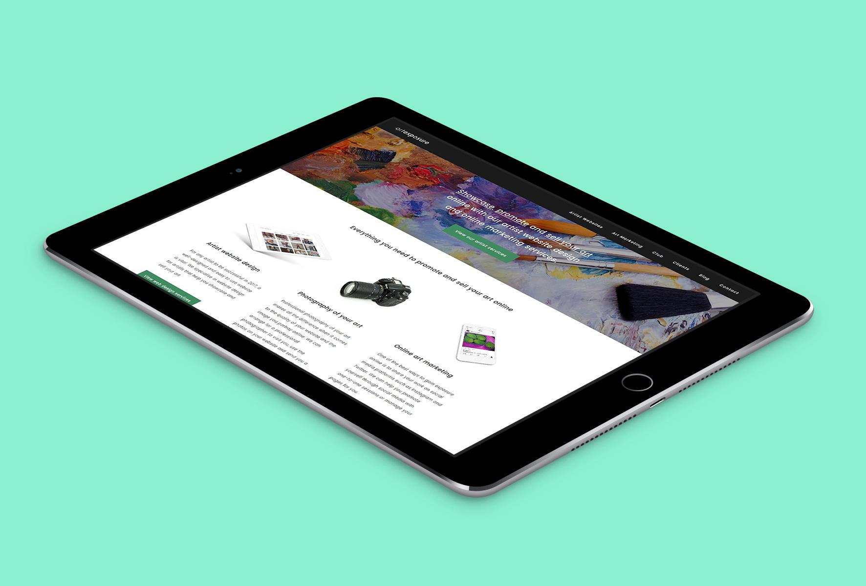 Art Exposure Website on iPad